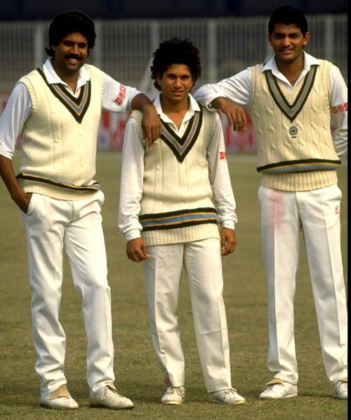 Kapil Dev, Sachin Tendulkar and Mohammed Azharuddin all of India